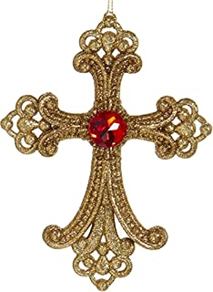 Christmas Ornament Gold Cross w Jewel T1942-RD Kurt Adler