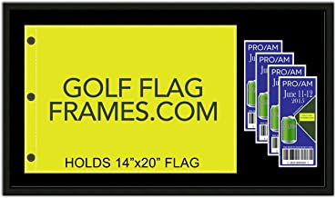 17 x 30 Golf Flag & Ticket Frame; Black Wood Frame 416, Reversible Green and Black Mat (holds 14x20 PGA, Ryder Cup, US Open Golf Flags and Tickets; flag & tickets not incl)