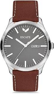 Escape Men's Tahoe 42MM 3 Hand/Date Silver Case on Walnut Leather Strap Watch