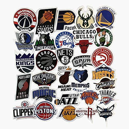 Jasion 30 Stück Vinyl-Aufkleber, wasserdicht, NBA-Basketball-Team-Logo, komplettes Set, Graffiti-Aufkleber für Wasserflaschen, Autos, Motorräder, Skateboards, tragbare Gepäck, Handy, iPad, Laptops