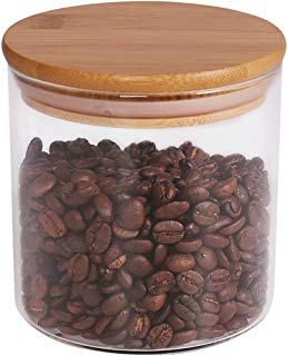 Food Storage Jar, 18.6 FL OZ (550 ML), 77L Glass Food Storage Jar with Airtight Seal Bamboo Lid - Modern Design Clear Glass Food Storage Canister for Serving Tea, Coffee, Spice and More
