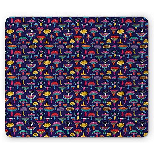 Alfombrilla Crazy Mouse, Colores Retro inspirados en los años Sesenta con Setas Corazones Abstractos con Forma de Puntos y triángulos, Goma Antideslizante de 25x30 cm,