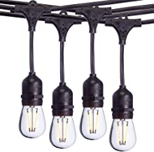 Aceland 24 Ft Waterproof Heavy-Duty LED Outdoor String Lights - Hanging, 7 Head Dimmable 2W Shatterproof Vintage Edison Bulbs Commercial Grade Patio Lights Create Cafe Ambience in Your Backyard