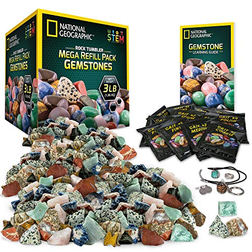 NATIONAL GEOGRAPHIC Rock Tumbler Mega Refill Kit - 3lbs Gemstones of 9 Varieties Including Tiger's Eye, Amethyst & Quartz - 4 Grades of Grit, Jewelry Fastenings & Detailed Learning Guide