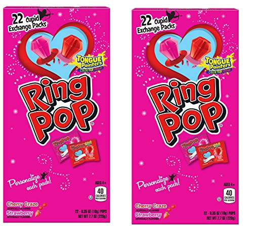 Valentines Day Ring Pop Strawberry and Cherry Craze Flavored Cupid Packs Personalize Each Pack (44 Count)
