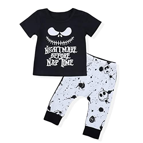 06f20bced Toddler Baby Boy Clothes 2PCs Outfit Set Nightmare Printing Long Sleeve and  Skull Pants 0-