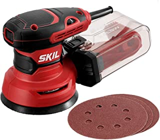 "SKIL 5"" Random Orbital Sander, Includes 3pcs Sanding Papers and Dust Box – SR211601"