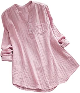 Women's Stand Collar V-Neck Long Sleeve Casual Solid Loose Tunic with Pocket Tops T-Shirt Blouse