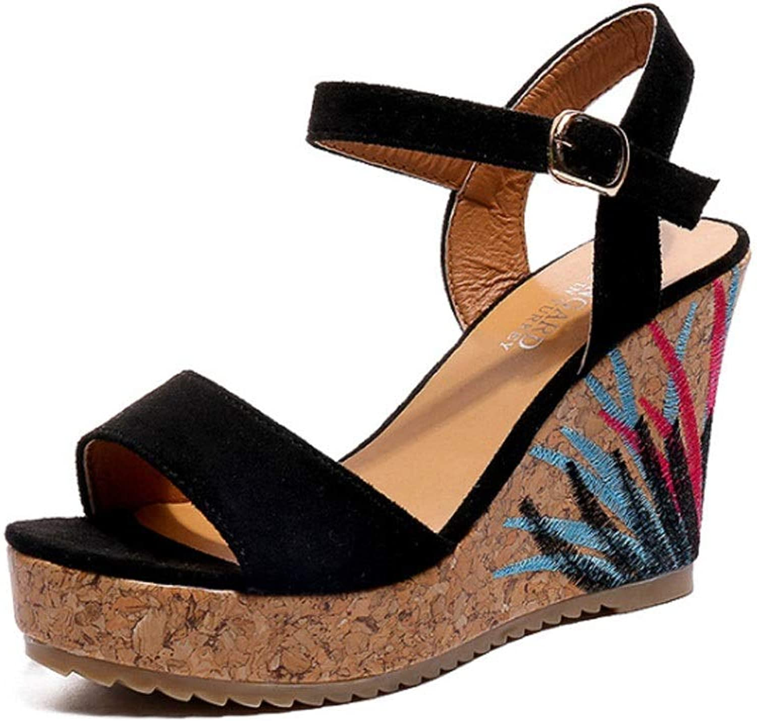Woman Embroidered Sandals Summer High Heel Slope Heel Open Toe Women's shoes (color   Black, Size   7.5 US)