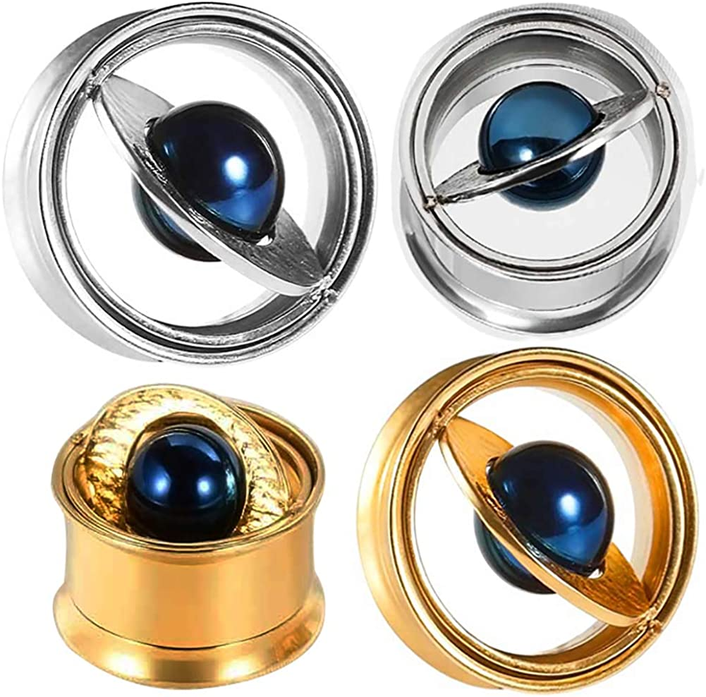 SUPTOP 2021 new 2PC Planet Ear Gauges 0g Popular - 5 Tunnels for 8 Stre and Plugs