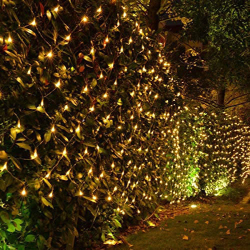 kemooie198LED Net Mesh Fairy String Decorative Lights 9.8ft x 6.6ft with 30V Safe Voltage for Christmas Outdoor Patio Garden Decorations (Warm White)