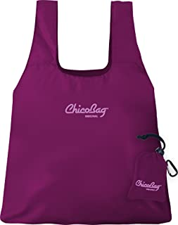ChicoBag Original Compact Reusable Grocery Bag with Attached Pouch and Carabiner Clip, Boysenberry Color