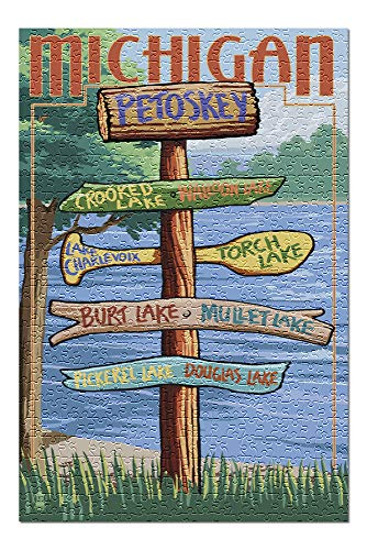 Petoskey, Michigan - Destinations Sign 42917 (Premium 500 Piece Jigsaw Puzzle for Adults, 13x19, Made in USA!)
