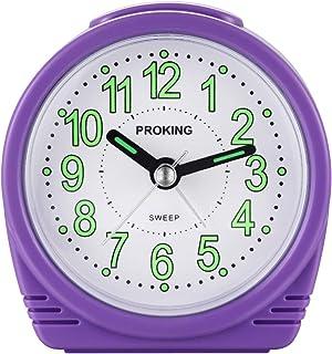 DTKID Sängväckarklocka, rea liten lätt väckarklocka för resekvarts, tyst icke-tickande analog väckarklocka med snooze och ...