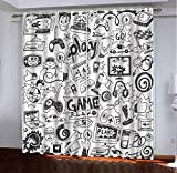 Cortinas De Oscurecimiento para Habitación De Niños, con Estampado De Patrón De Juego De Dibujos Animados 100% Poliéster con Ojales para Habitación Infantil Dormitorio,2 Paneles,220 X 215(An X Al)