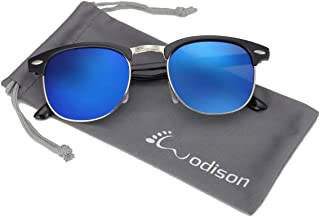 6b92666fa2 WODISON retro medio marco (Half Frame) con borde de las gafas de sol  protegen