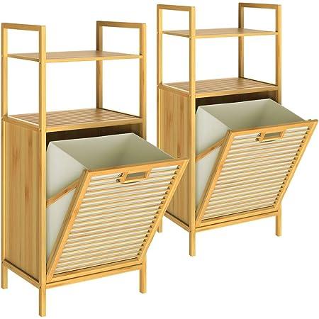 CASARIA 2X Meuble en Bambou 2 en 1 avec étagères Panier à Linge intégré 43L Meuble de Rangement Salle de Bain 95 cm