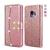 UEEBAI Wallet Flip Case for Samsung Galaxy S7 Edge,Premium Glitter Glossy PU Leather Case with Diamond Buckle [Card Slots] [Magnetic Clasp] Stand Function Rhinestone Strap Handbag TPU Cover-Rose Gold