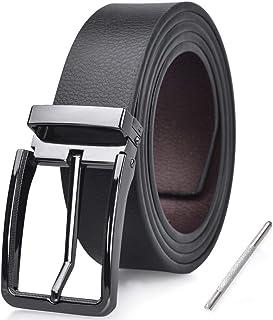 NUBILY Cintura Uomo Pelle Nero Marrone Reversibili Cinture da Uomo Della Di Cuoio Fibbie Cintura Casual Formali Elegante p...