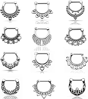 Qmcandy 12 PCS 14G/16G Stainless Steel Septum Clicker Nose Rings Hoop Cartilage Bull Rings Body Piercing Jewelry
