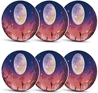 Fantasy House Decor Unique Coasters,Young Woman with A Dog under Huge Moon Starry Sky Celestial Magical Friendship Art for Coffee Shop & BarSet of 6