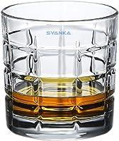 Syanka Square Design Premium Glass Whiskey Glasses Set of 6, Clear, 310ml