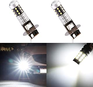 Morefulls New Design 1600 Lumens 360° Beam Angle H3 LED Fog Lights Bulbs Lamp 6000k White With Projector, Extremely Bright Fog Lights Bulb or DRL LED Bulb,Lifetime Support(Set of 2)