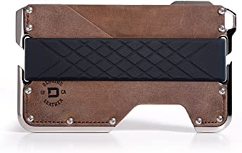 Dango D02 Dapper 2 EDC Wallet - Made in USA - Genuine Leather, Nickel-Plated CNC-Machined Aluminum, RFID Blocking, 2 Oz.