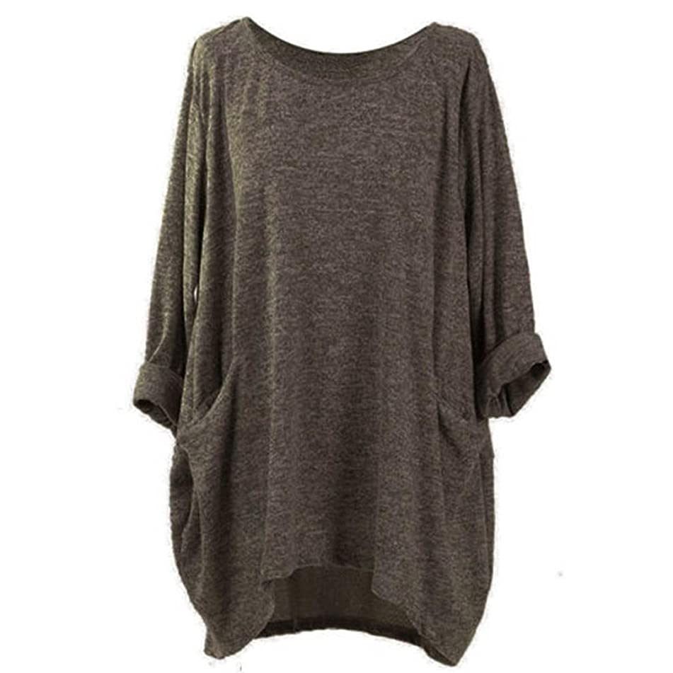 Women's Long Sleeve Pocket Loose Casual Top Fashion O Neck Pocket T Shirts Loose Casual