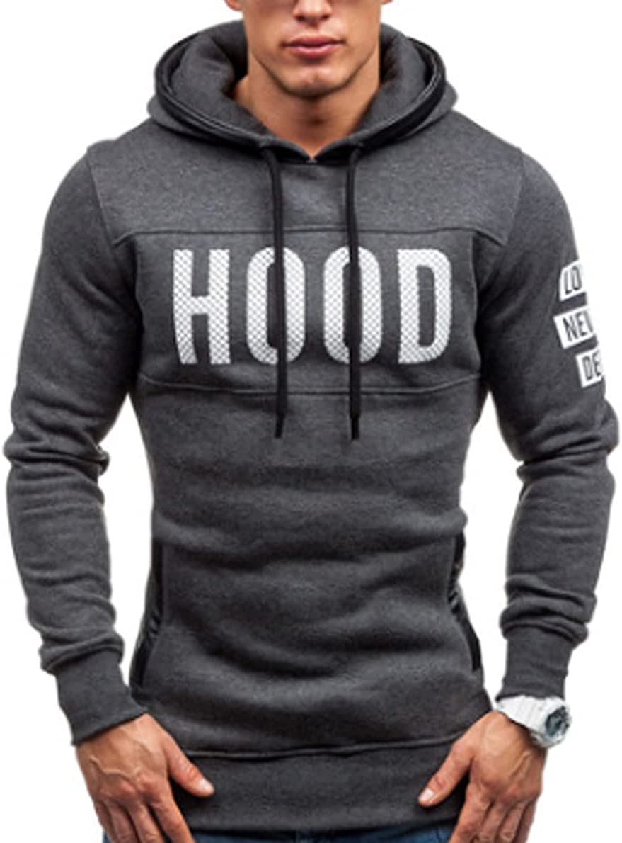 Men's Casual Hooded Sweater Warm and Comfortable Slim Letter Fashion Pullover Top
