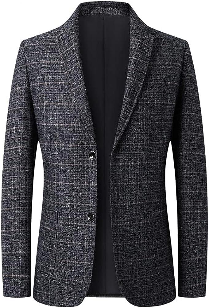 Men's Plaid Sport Coats Blazers Slim Fit Two Button Suit Jacket