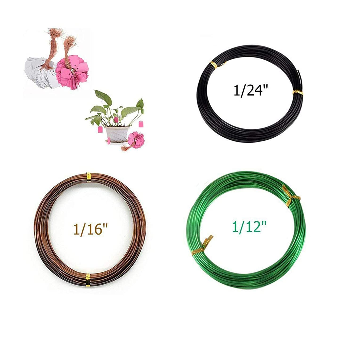 Preamer Set of 3 Long Lasting Bonsai Training Aluminum Wire for Tree Colored Aluminum Craft Wire - 1.0mm, 1.5mm, 2.0mm with 100Pcs Plastic Plant Labels(Assorted Color)