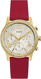 GUESS Red Rhinestone Multifunction Watch