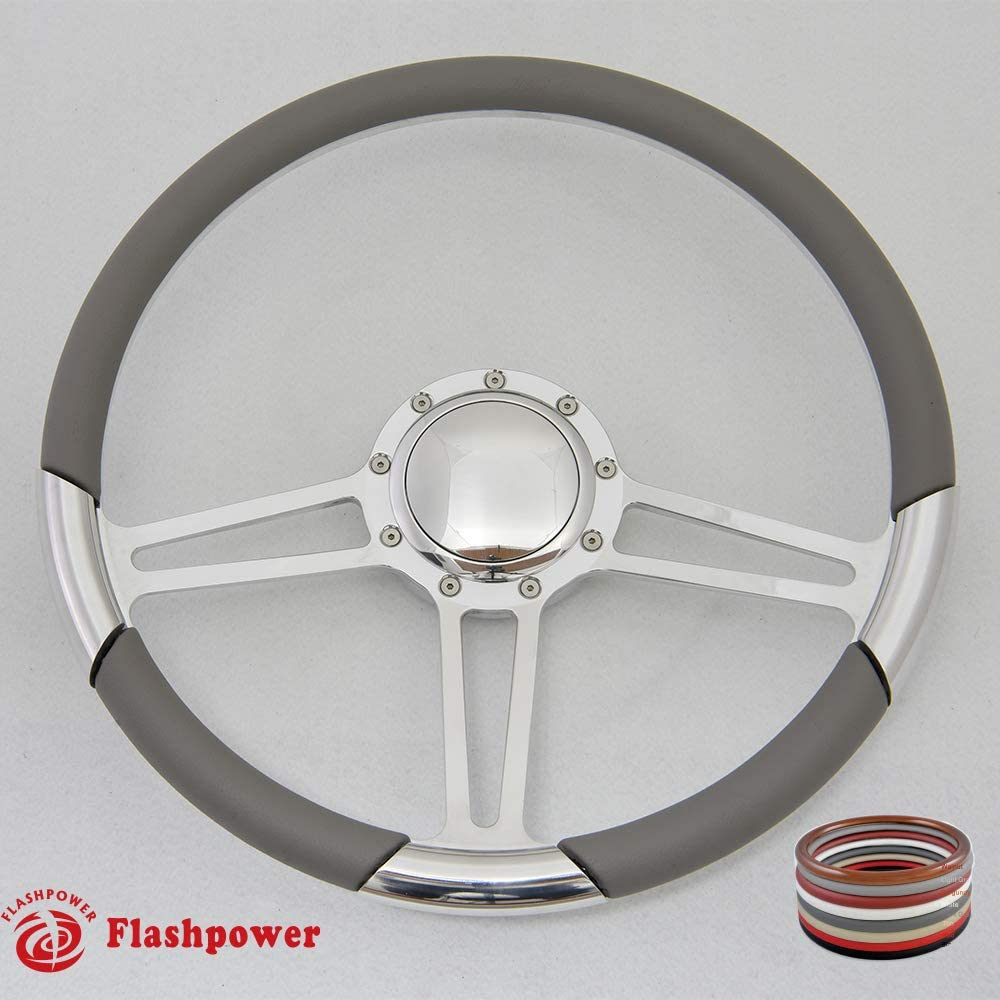 15.5 Polished Billet Steering Wheel with Half Wrap and Horn Button Black