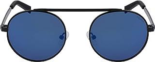 نظارة شمسية بتصميم دائري وشعار حرف ان مطبوع بالليزر للرجال من نوتيكا، لون اسود
