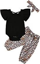 Infant Baby Girl Leopard Outfits Fly Sleeve Hollow Romper Bodysuit+Harem Pants Clothes Set