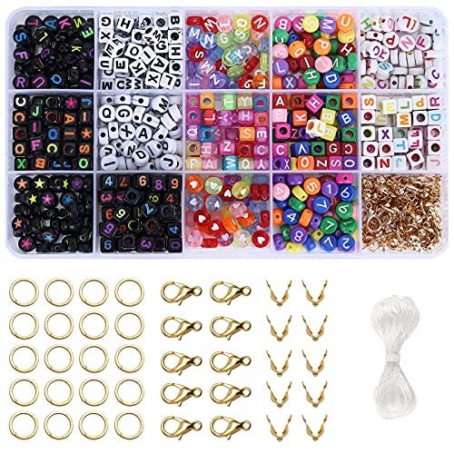 15 cajas de cuentas de colores variados con 1 rollo de 5 m de hilo elástico, pulsera, cinta de pelo y collar, accesorios para manualidades y joyería