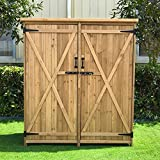 Outdoor Wooden Garden Storage Shed, Lovinouse Outside Fir Wood Storages Cabinet, Wooden Tool Sheds for Home Yard Patio Backyard Deck