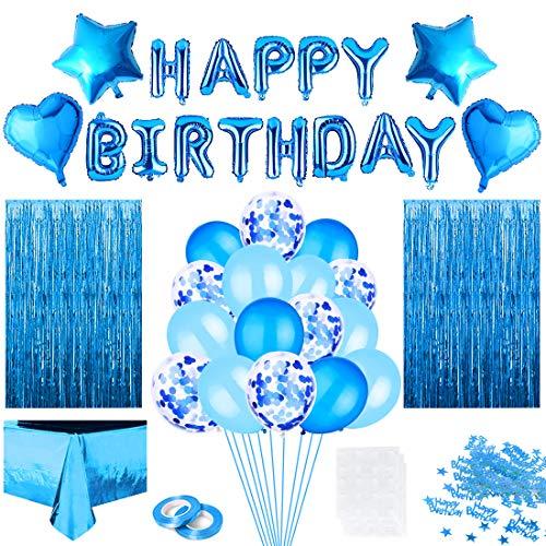 Blå födelsedagsdekorationer, konfettiballonger bordsduk, blå ballonger glitter gardin konfetti hjärta stjärna folie ballong för man kvinnor flicka fest födelsedag dekoration