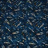 Baumwollstoff Kim Raumschiffe Weltall, blau (50cm x 147cm)