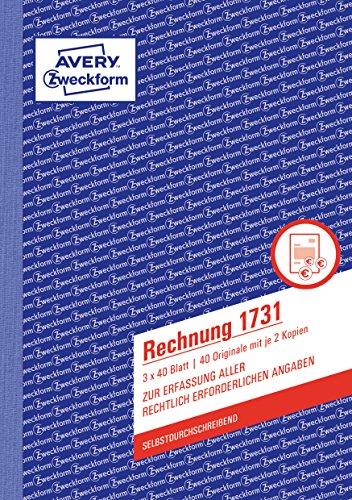 AVERY Zweckform 1731 Rechnung (A5, selbstdurchschreibend, 3x40 Blatt) weiß/gelb/rosa
