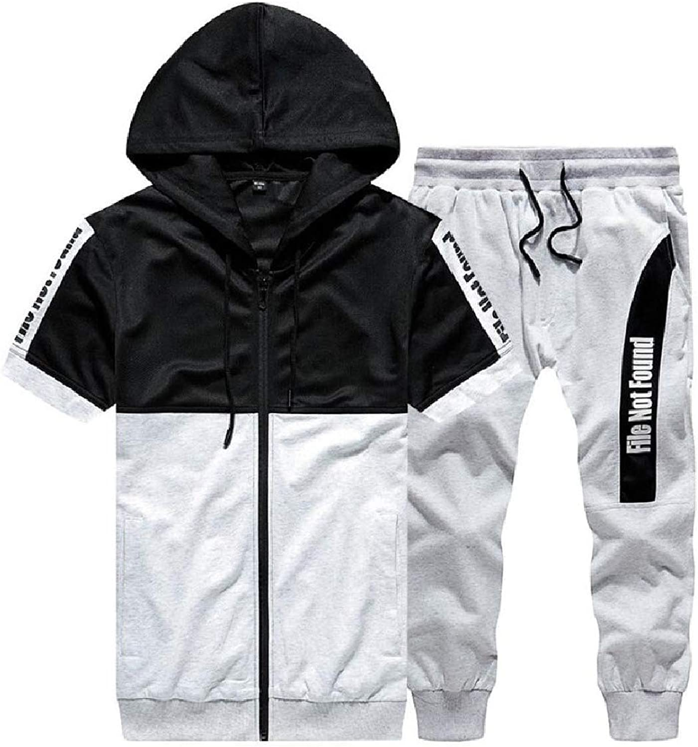 Energy Mens Chain Printed Short-Sleeve Hooded 3 4 Jogger Sweatsuit Set