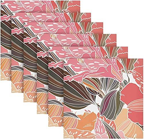 Tovaglioli di stoffa luminosi e colorati con stampa di fiori morbidi e confortevoli, set di 50.8 x 50.8 cm, lavabili in cucina, per uso quotidiano in famiglia, matrimoni, feste
