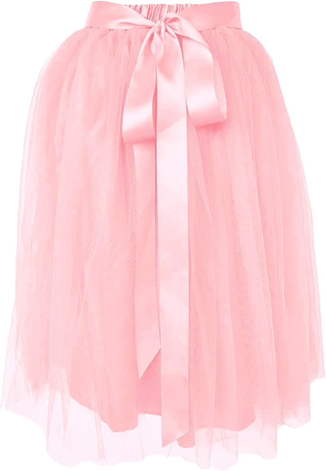 Dancina Women's Knee Length Tutu A Line Layered Tulle Skirt for Dates Prom Party