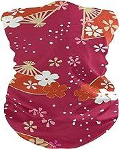 PINLLG Vintage Japanse Kersenbloesems Rood Gezichtsmasker Bandana Wasbare Hoofdband voor Stof Sport Magische Sjaal Hals Ga...