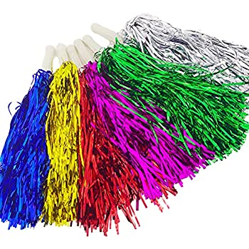 6 PCS Cheerleading Pom Poms For Sports Events – Multicolor Pom Poms For Cheering Squads Players Matches Parties - Cheerleader Metallic Foil Pom Poms with Plastic Handle Party Costume Accessory Set