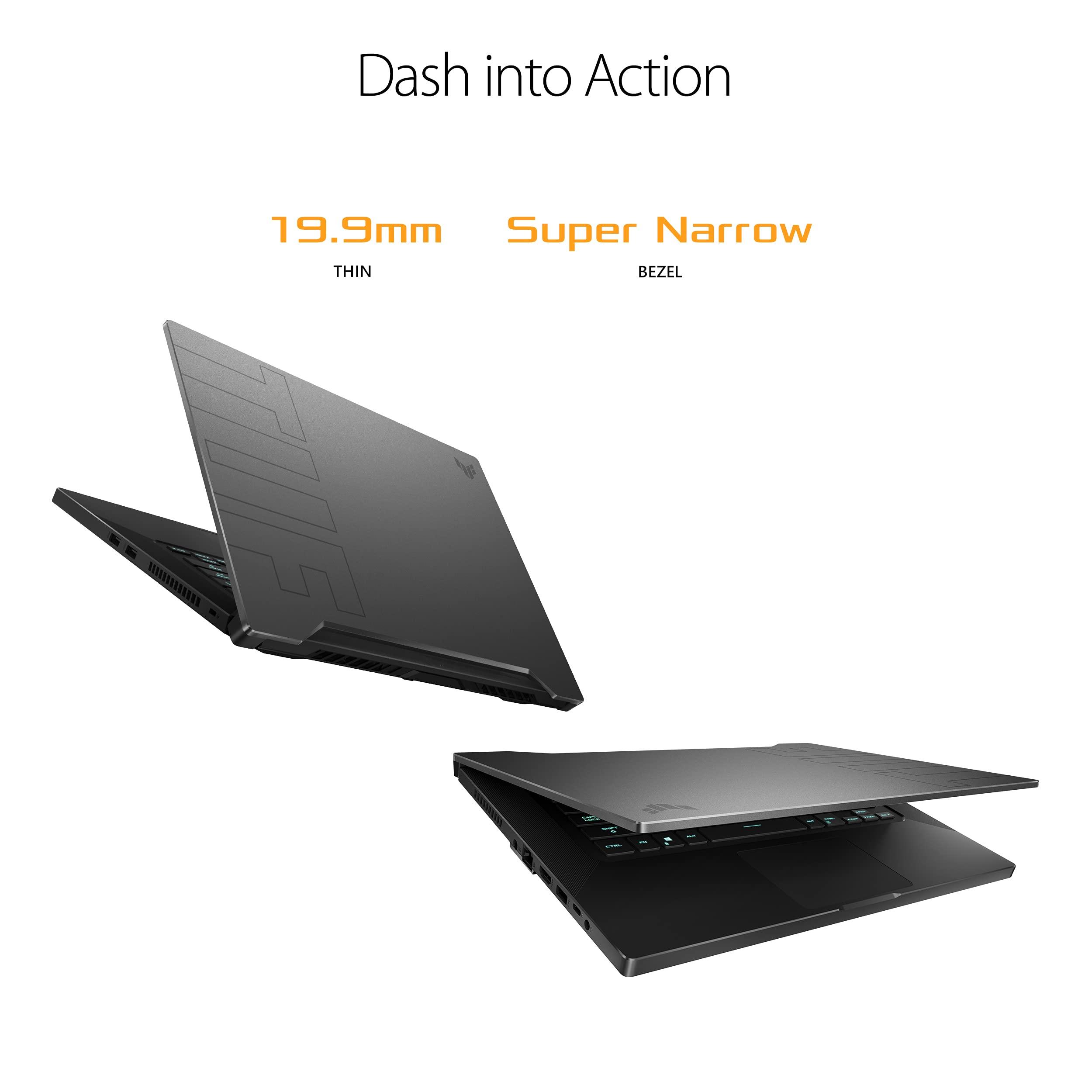 "ASUS TUF Dash 15 (2021) Ultra Slim Gaming Laptop, 15.6"" 144Hz FHD, GeForce RTX 3050 Ti, Intel Core i7-11370H, 8GB DDR4, 512GB PCIe NVMe SSD, Wi-Fi 6, Windows 10, Eclipse Grey Color, TUF516PE-AB73"