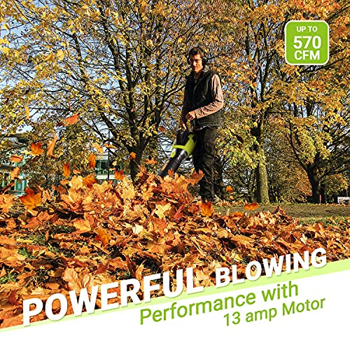 Leaf Blower - REYLEO 13 Amp 570 CFM Electric Leaf Blower, Variable Speeds for Lawn Care, Axial Fan Design, Quick Installation, Compact Storage