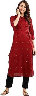 Aurelia Women's Cotton Asymmetrical Hemline Kurta