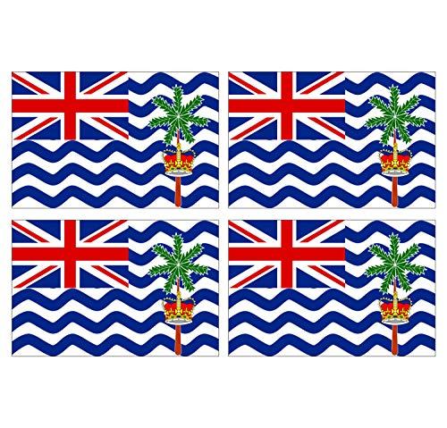 Set van 4 zelfklevende zelfklevende stickers - Nationale vlag, Brits Terrarium van de Indische Oceaan - 12 x 8 cm